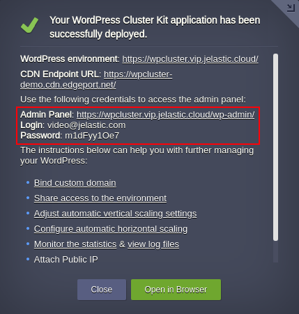 wordpress hosting cluster deployed